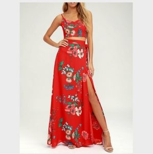 Lulus Floral Red Maxi Skirt Bloom with a View XS